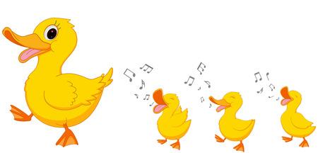 pato caricatura: Pato feliz de dibujos animados de la familia Vectores
