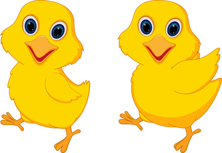 nestling: Happy chicks cartoon Illustration
