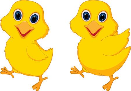 Happy chicks cartoon Illustration