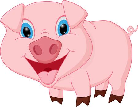 Happy Pig cartoon Vector