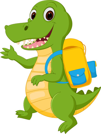 Happy Crocodile cartoon going to school
