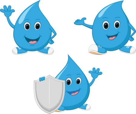 Happy water drop cartoon