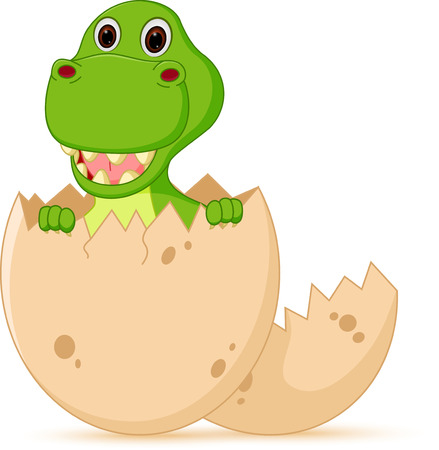 paleontological: Cute baby dinosaur cartoon hatch Illustration