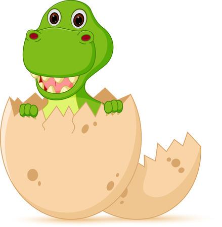 Cute baby dinosaur cartoon hatch Illustration