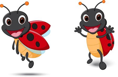 Happy Lady bug cartoon Çizim