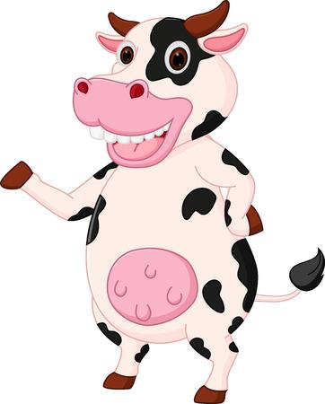 cartoon cow: Vaca de dibujos animados lindo agitando la mano