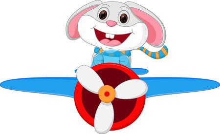 Rabbit cartoon riding a plane Vector