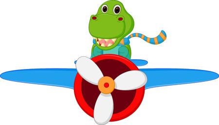 Dinosaur cartoon riding a plane Vector