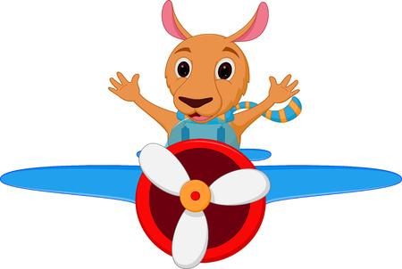 Kangaroo cartoon riding a plane Vector