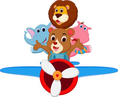 Funny cartoon animals riding a plane Vector