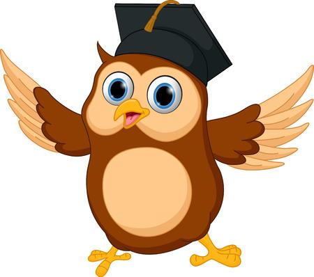 卒業の帽子を身に着けている幸せのフクロウ漫画  イラスト・ベクター素材
