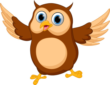 owl cartoon: Happy owl cartoon Illustration