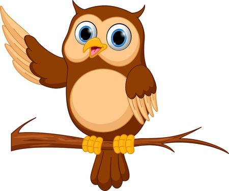 Happy owl cartoon Vettoriali
