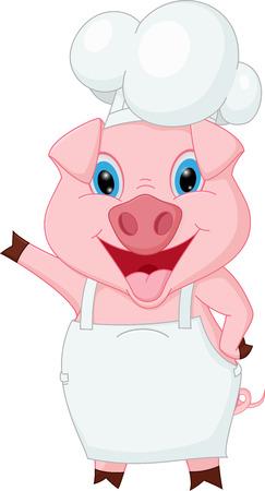 손을 흔들며 돼지 요리사 만화
