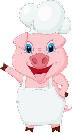 cooking chef: Pig chef cartoon waving hand