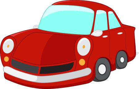 small car: Red car cartoon