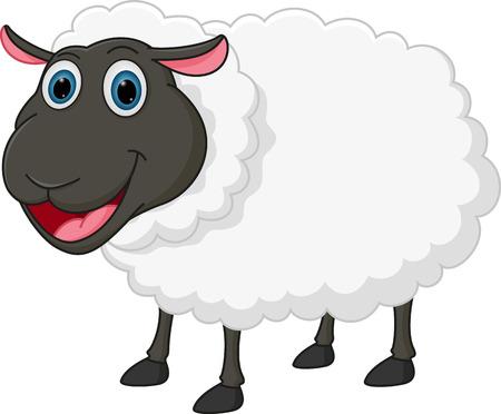 幸せな漫画の羊  イラスト・ベクター素材