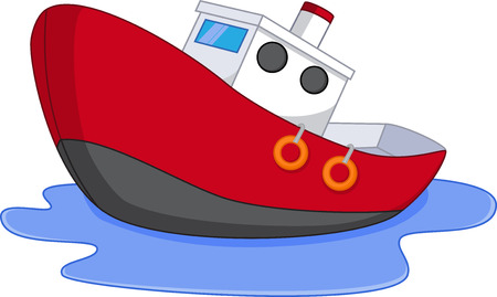 toy boat: Cartoon boat with water