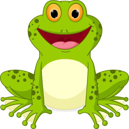 rana caricatura: De dibujos animados feliz de la rana Vectores