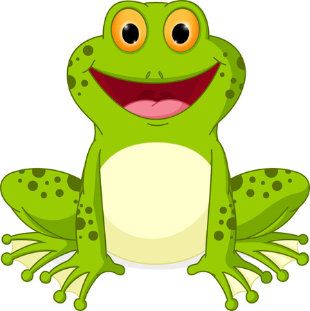 green cute: Happy Frog cartoon