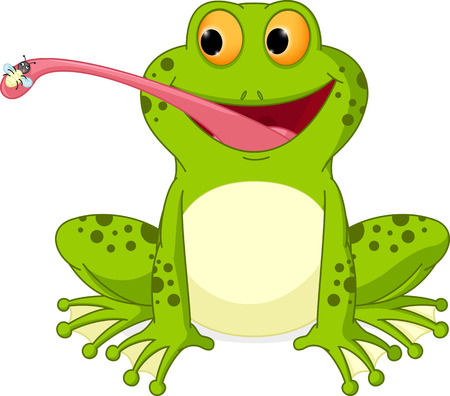 Happy frog cartoon catching fly Vectores