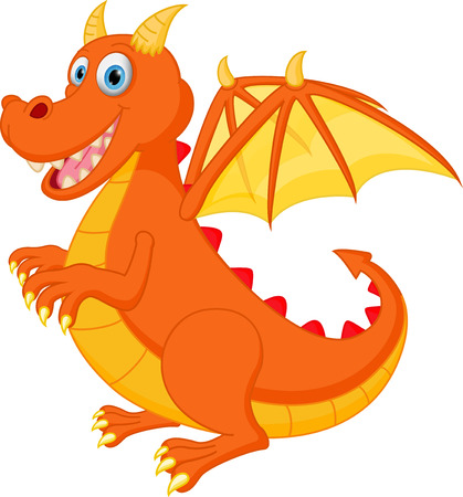 red dragon: Happy red dragon cartoon Illustration