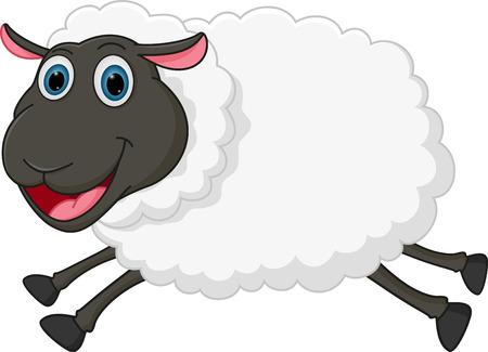 Happy sheep jumping