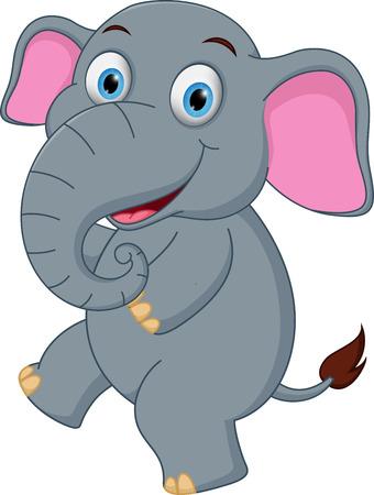 baby animal cartoon: Happy Elephant cartoon dancing Illustration