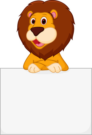 Cute lion cartoon holding sign