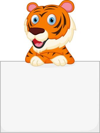 undomesticated: Cute tiger cartoon holding sign
