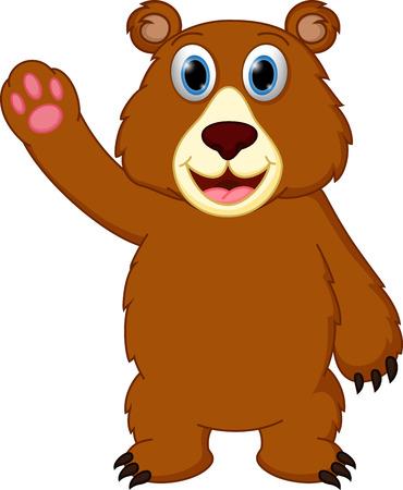 행복 곰 만화 손을 흔들며 일러스트