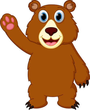 Happy bear cartoon waving hand