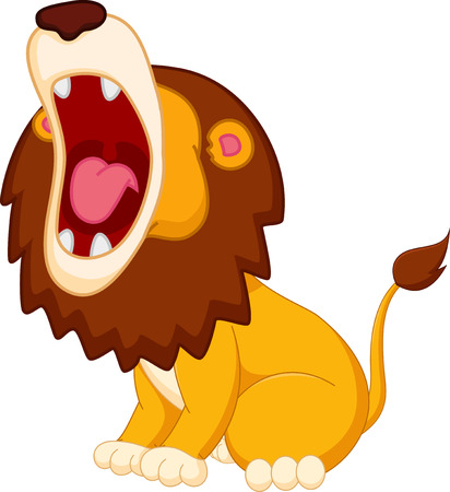 angry lion: Roaring lion cartoon