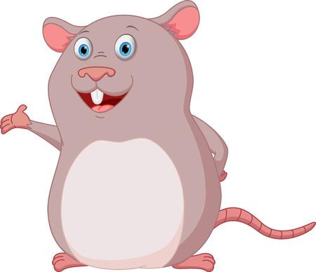 rata caricatura: Feliz rat�n de presentaci�n de dibujos animados