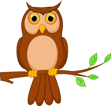 木の上に立ってフクロウ漫画  イラスト・ベクター素材