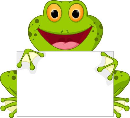 Bonne dessin animé grenouille avec signe Banque d'images - 38761534