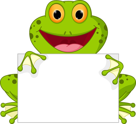 Happy frog cartoon with sign Çizim