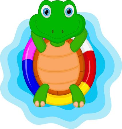 green turtle cartoon relaxing
