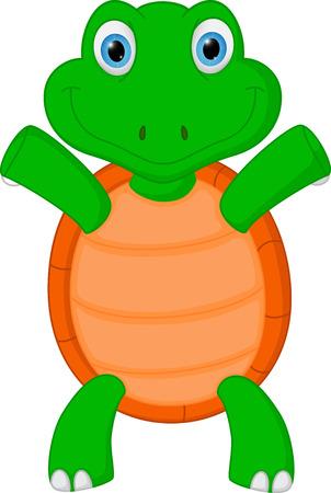 green turtle: Felice cartone animato tartaruga verde