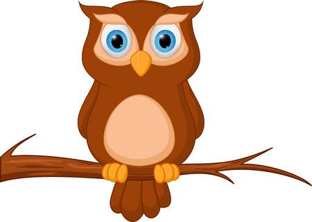 Owl cartoon standing on tree