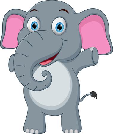 Happy baby elephant cartoon Illustration