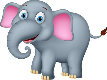 행복 코끼리 만화 벡터 일러스트
