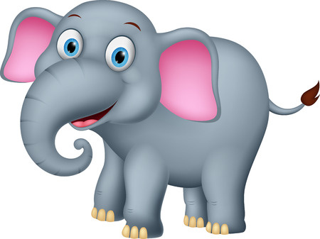 Happy elephant cartoon vector Illustration