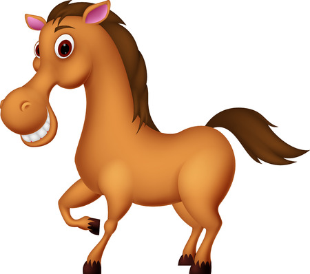 brown horse: Vector Illustration of Happy horse cartoon
