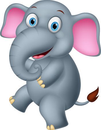 niños riendose: Historieta del elefante feliz Vectores