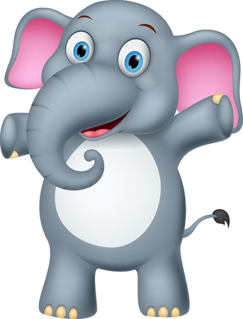 elefantes: Historieta del elefante feliz Vectores