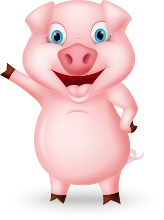 animal vector: Cute pig cartoon presenting Illustration