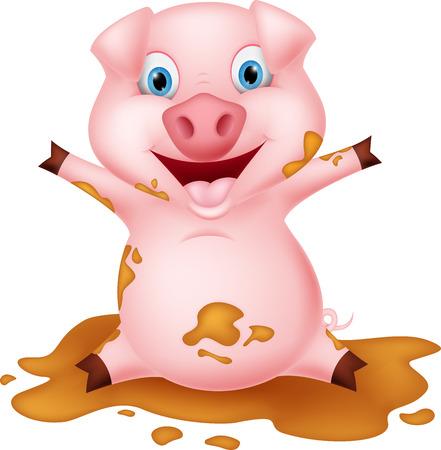 mud: Pig cartoon playing with mud