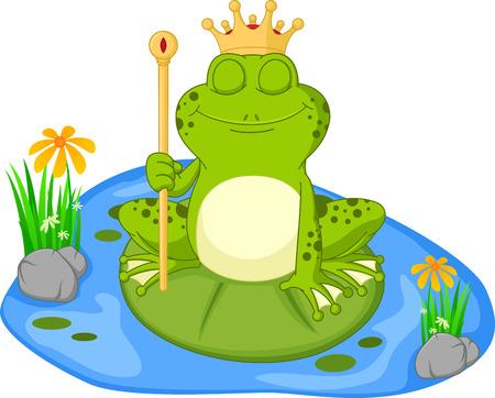 sapo principe: Príncipe de dibujos animados rana sentada en una hoja Vectores