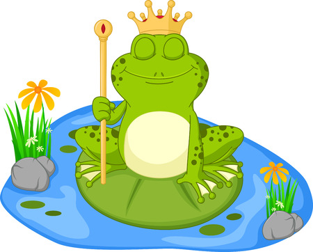 lily pad: Prince frog cartoon sitting on a leaf Illustration